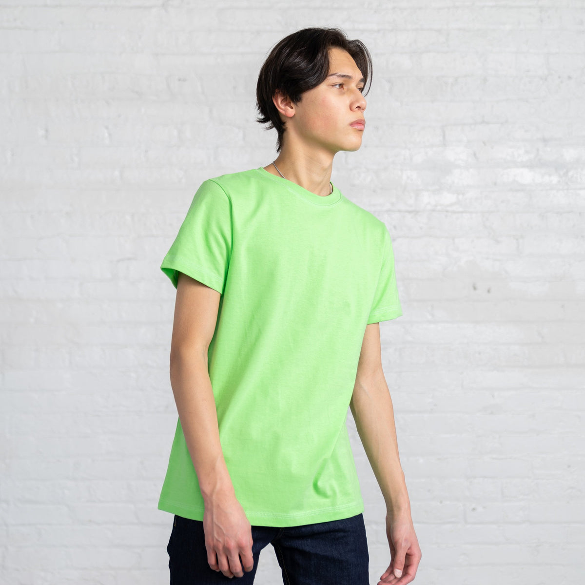 Color:Bright Green Fitted Combed Cotton Men's T-shirts
