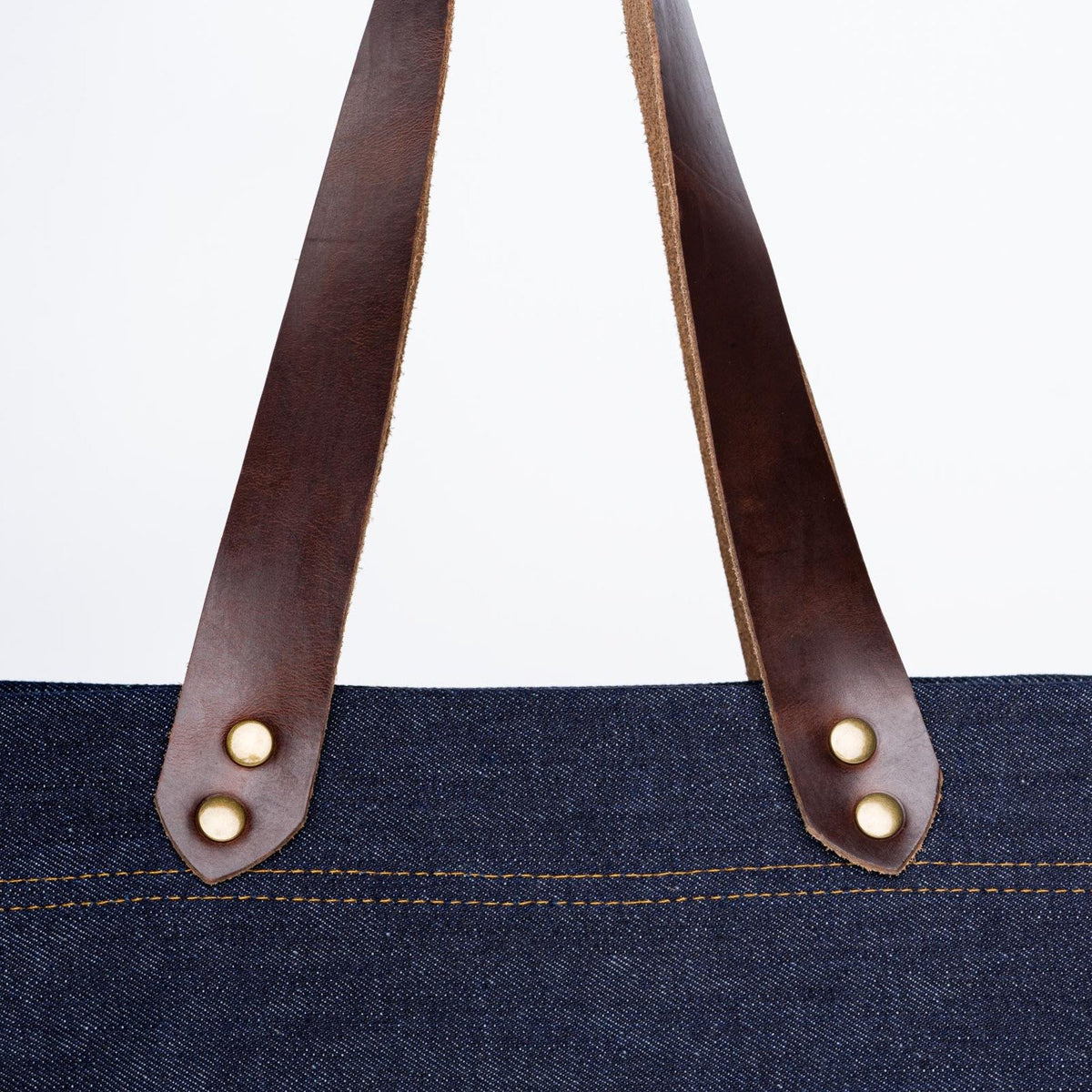 Color:Dark Brown Denim Horween Leather Tote Bag