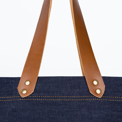 Color:Light Brown Denim Horween Leather Tote Bag