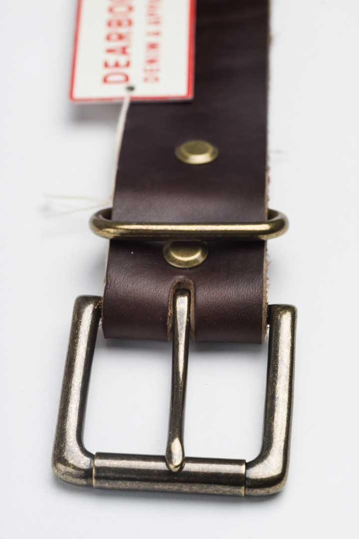 Dark Havana Brown Leather Belt - Buckle and tag