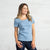 Color:Light Blue Combed Cotton T-shirts Women's T-shirts