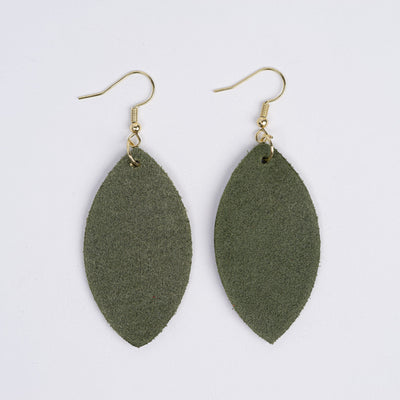 Color:Olive Horween Leather Earrings