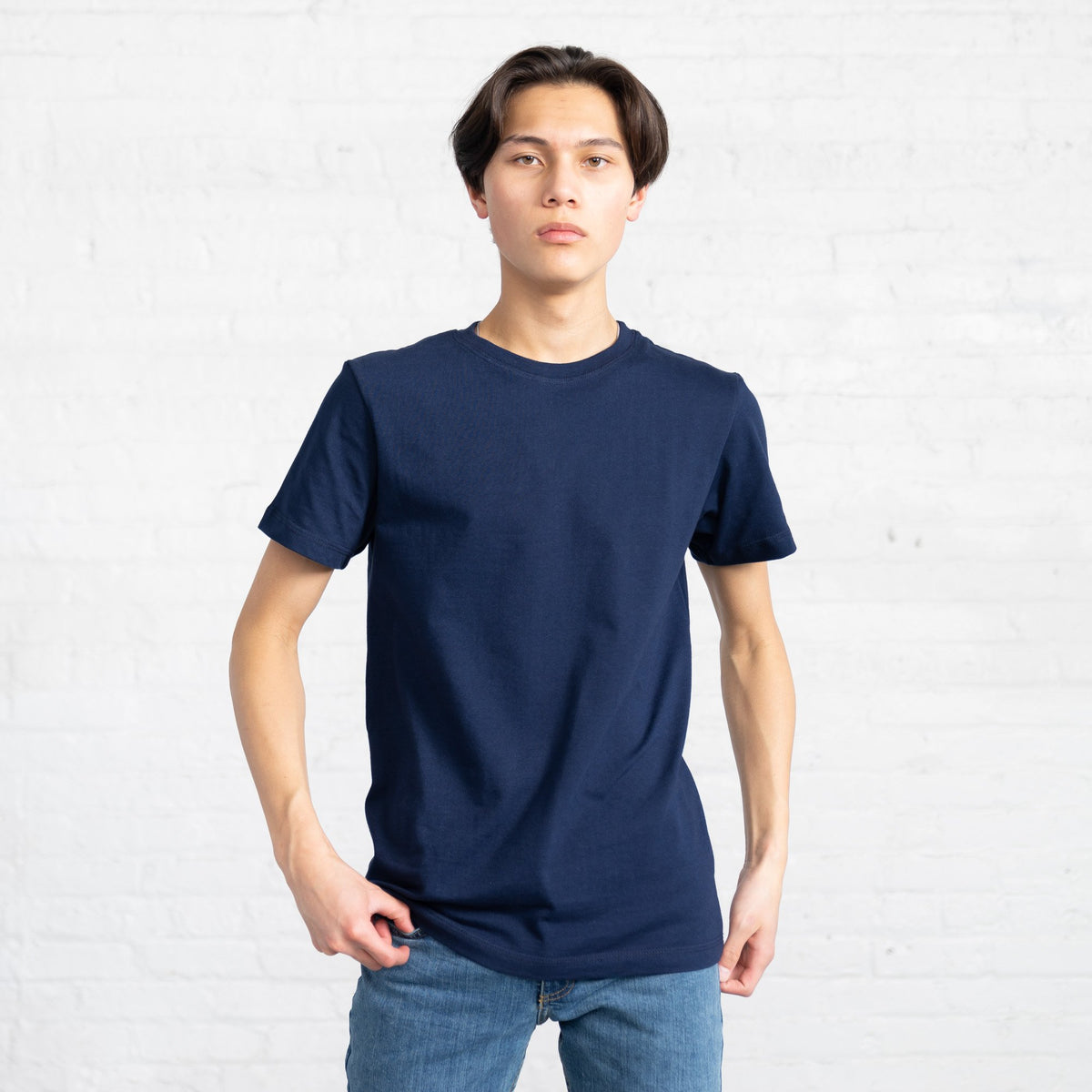 Color:Navy Fitted Combed Cotton Men's T-shirts