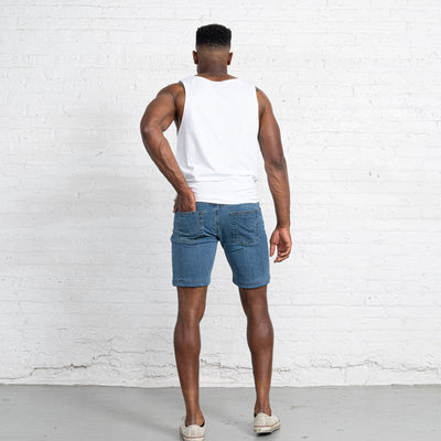 "Light Stretch Denim Shorts length:9"" Inseam Hemmed"