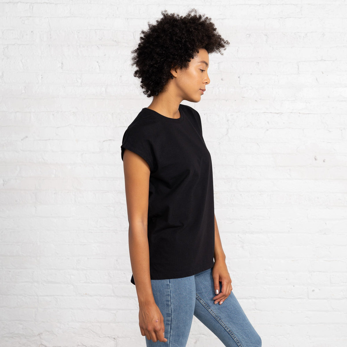 Dolman T Color:Black Combed Cotton New T-shirts Women's T-shirts