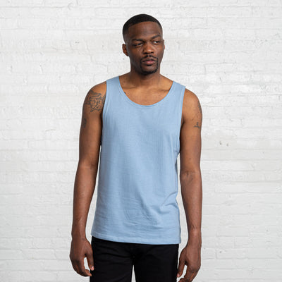Color:Light Blue Combed Cotton Men's Tank Tops