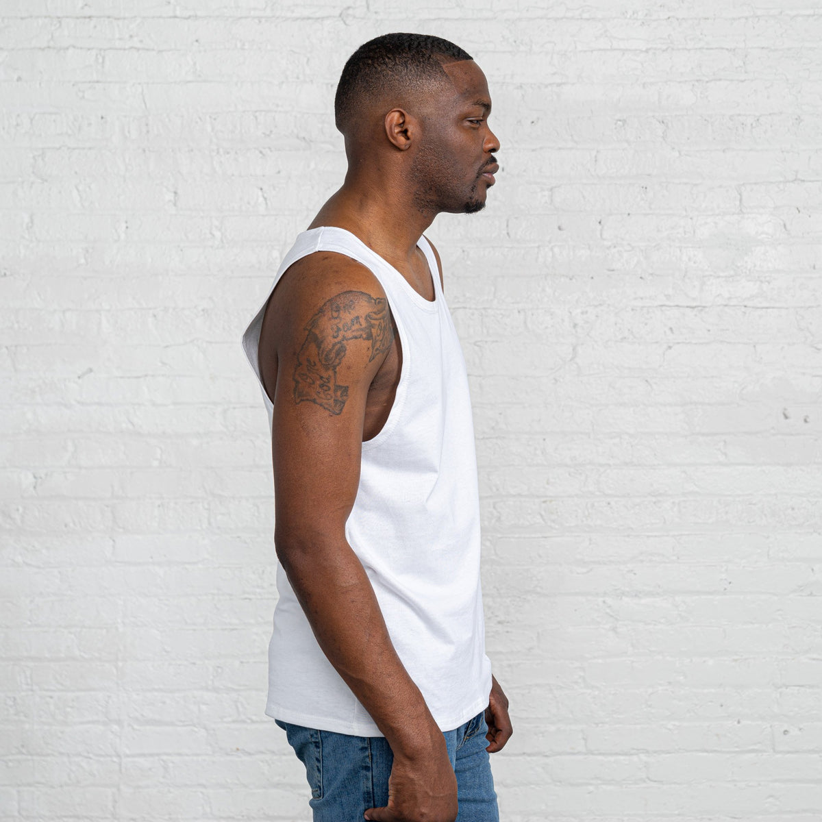 Color:White Combed Cotton Men's Tank Tops