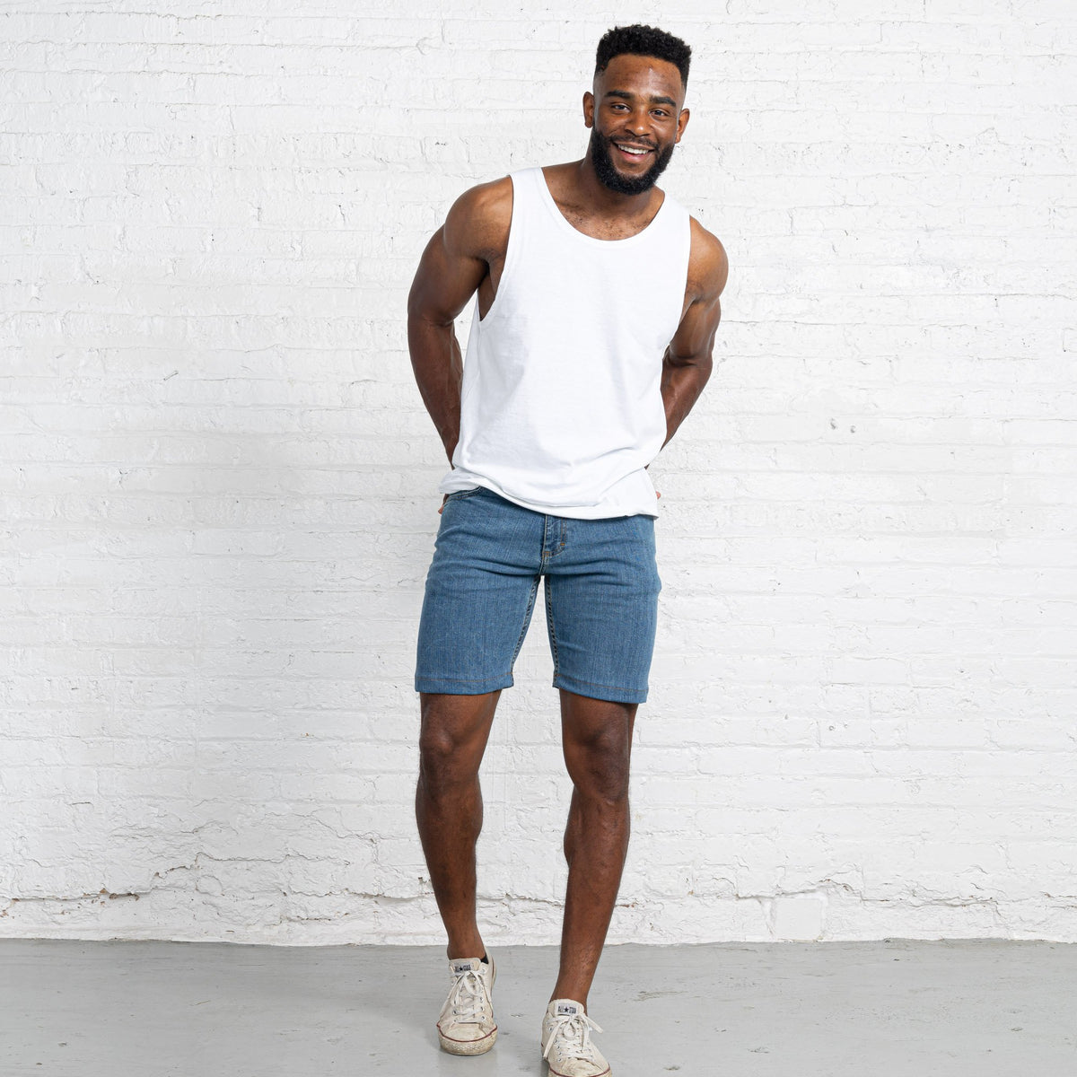 "Light Stretch Denim Shorts length:9"" Inseam hem:Hemmed"