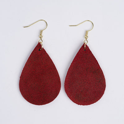 Color:Cherry Horween Leather Earrings