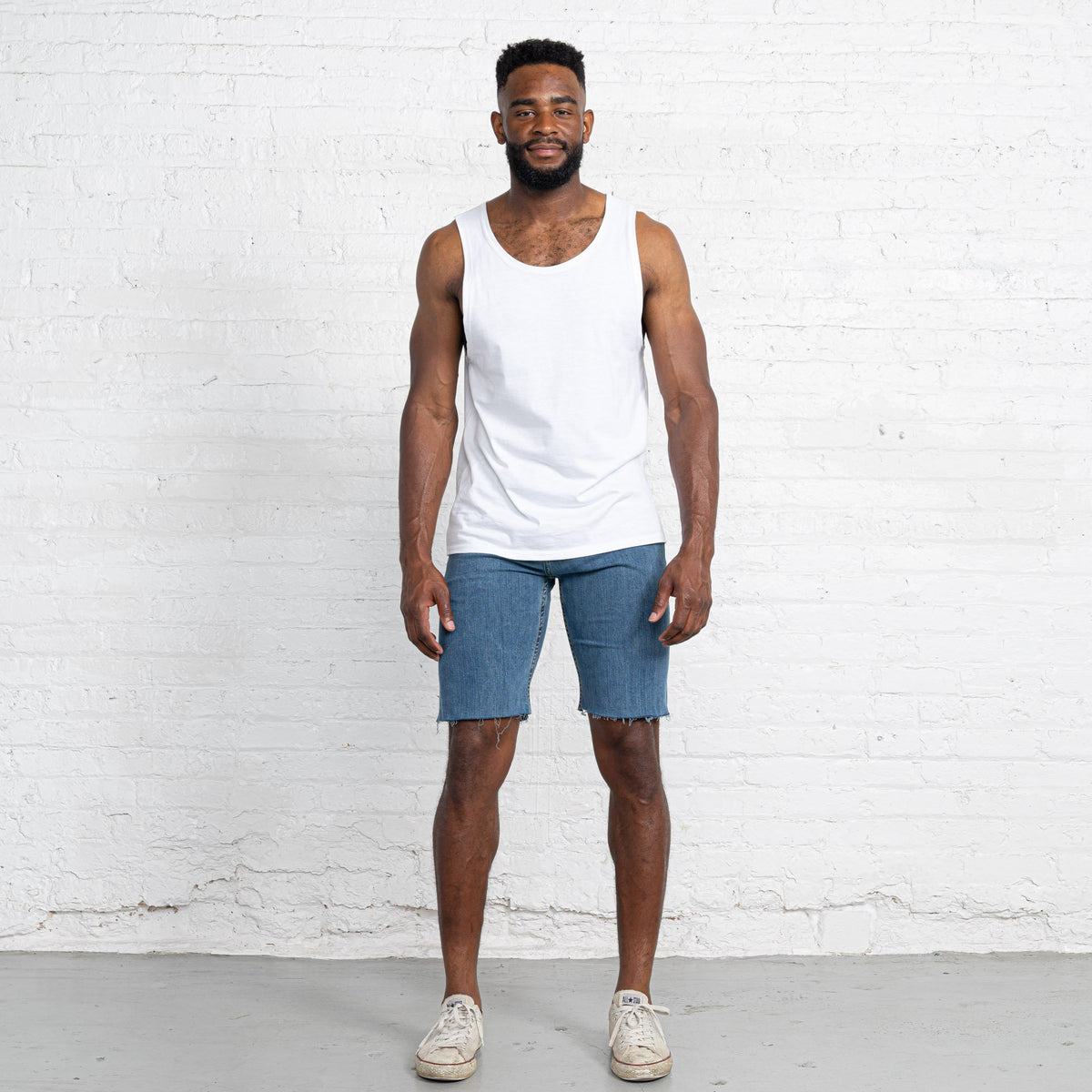 "Light Stretch Denim Shorts length:11"" Inseam hem:Raw"