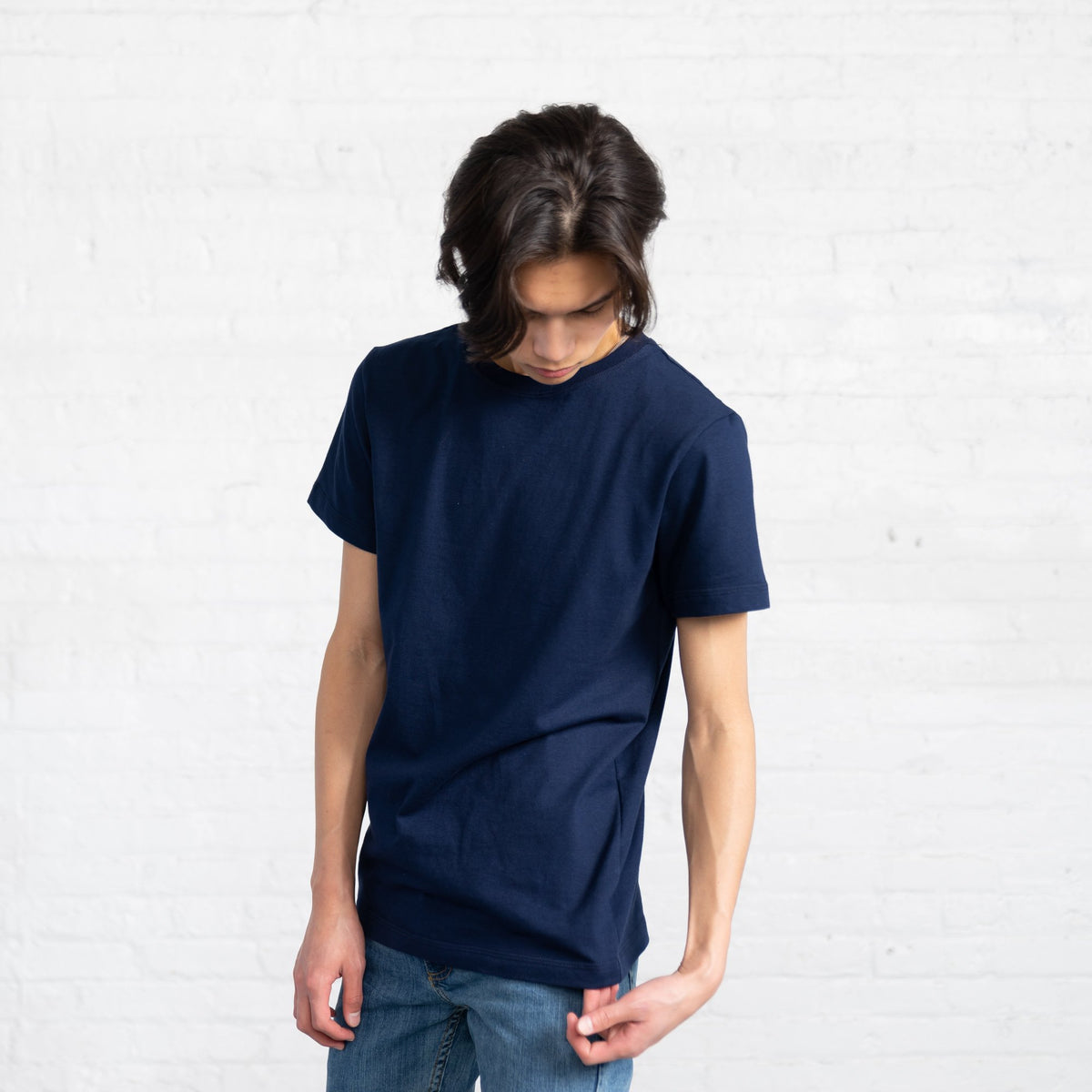 Fitted Color:Navy Combed Cotton Men's T-shirts