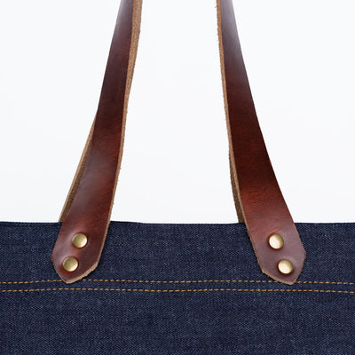 Color:Color #8 Denim Horween Leather Tote Bag