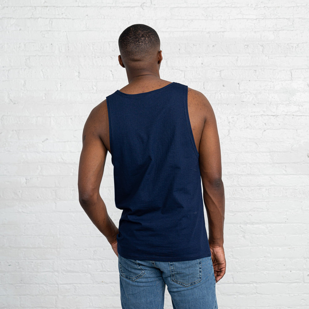 Color:Navy Combed Cotton Men's Tank Tops