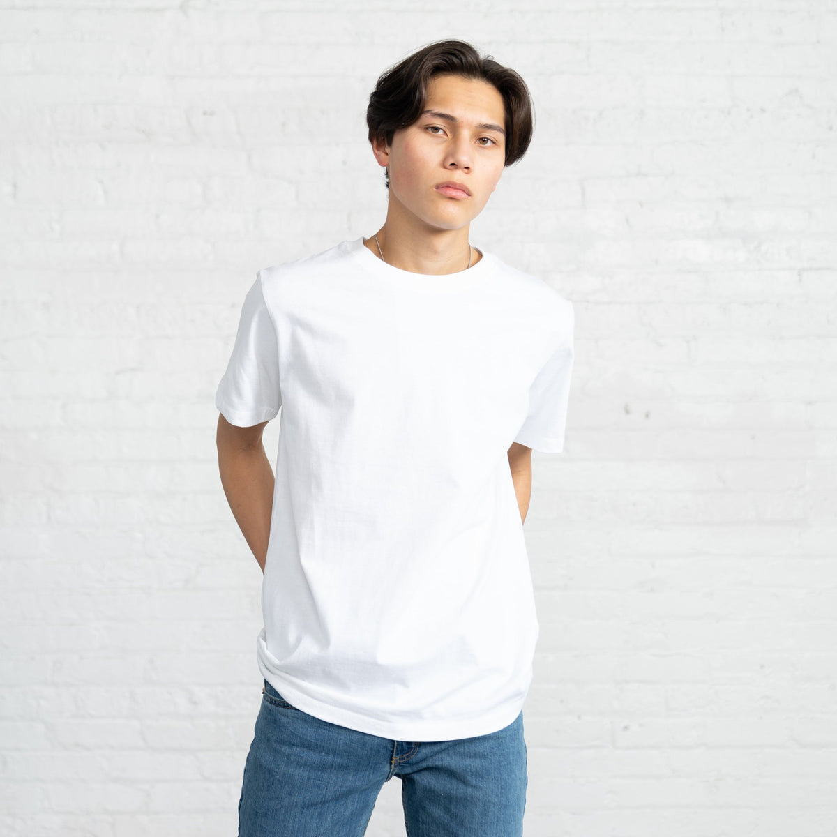 Color:White Fitted Combed Cotton Men's T-shirts