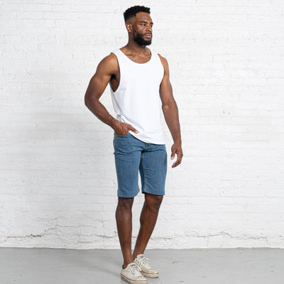 "Light Stretch Denim Shorts length:13"" Inseam Hemmed"