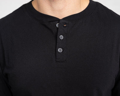 Classic Color:Black Combed Cotton Henleys Mens's Henleys