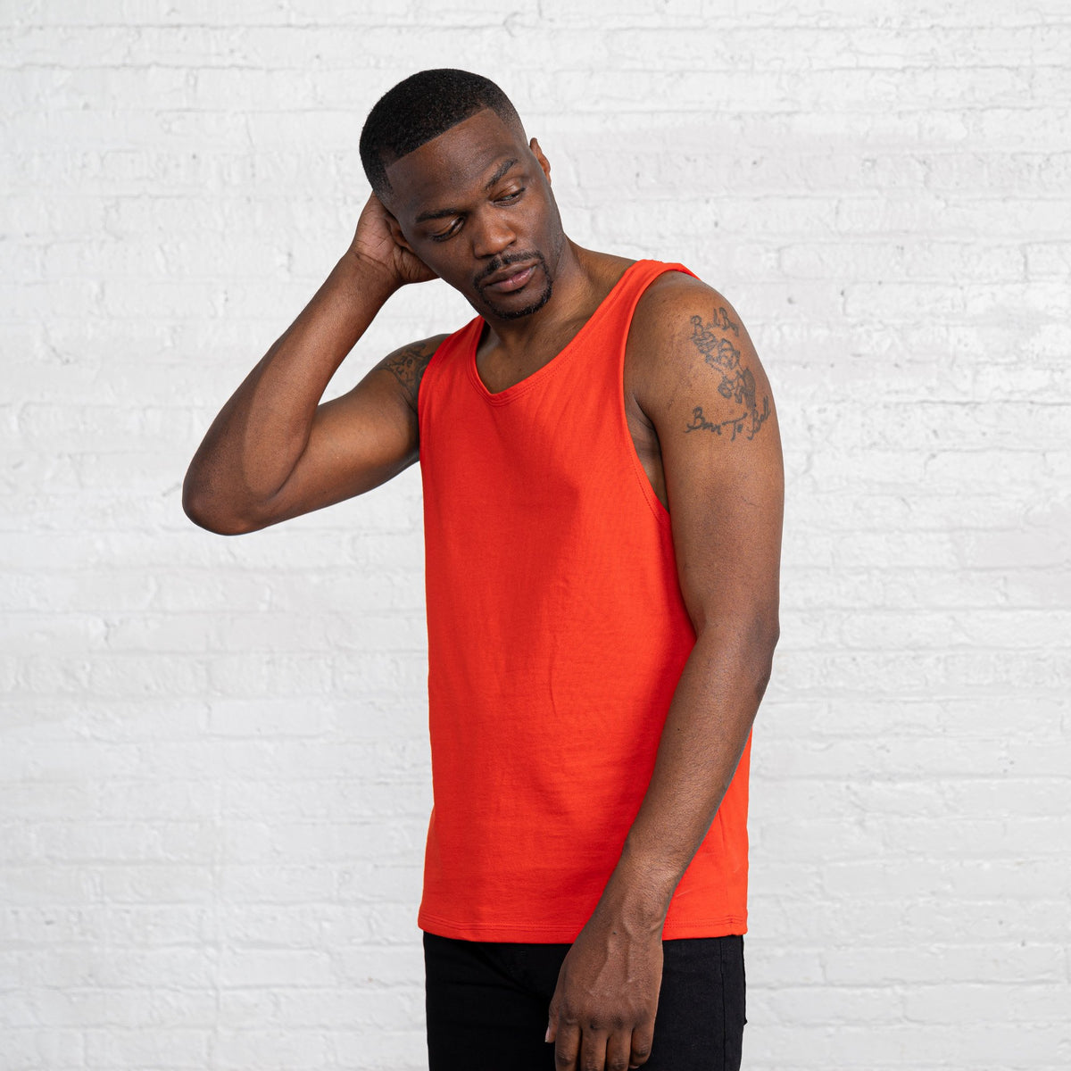 Color:Bright Red Combed Cotton Men's Tank Tops