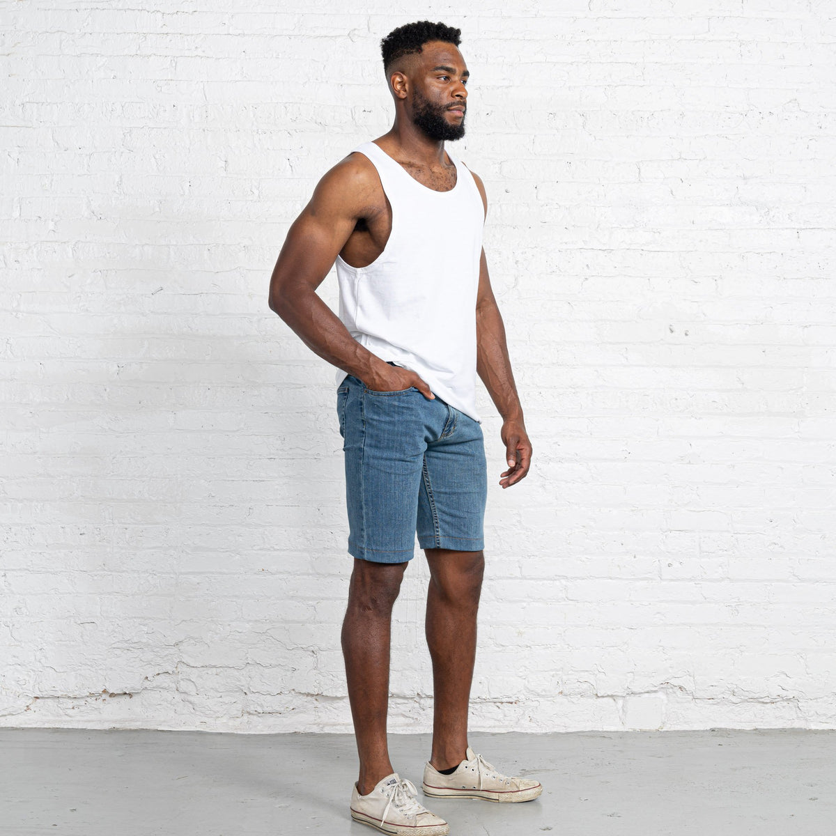 "Light Stretch Denim Shorts length:11"" Inseam Hemmed"
