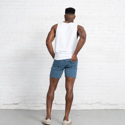"Light Stretch Denim Shorts length:7"" Inseam Hemmed"