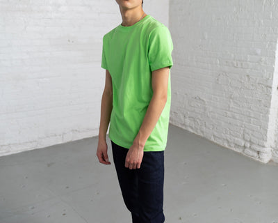 Fitted Color:Bright Green Combed Cotton Men's T-shirts