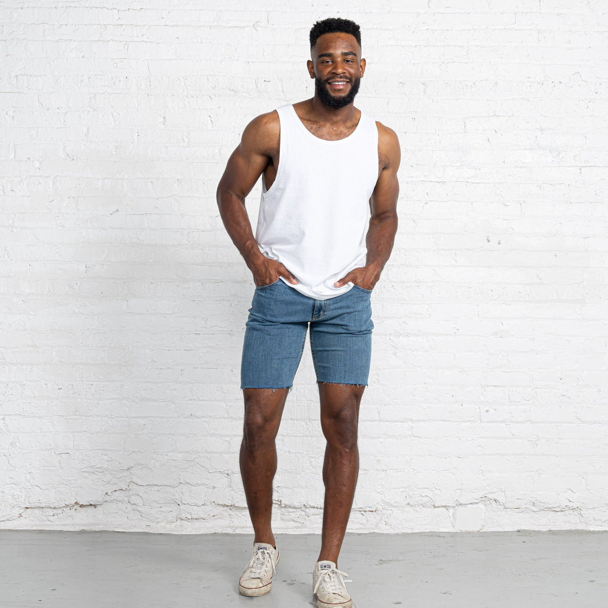 "Light Stretch Denim Shorts length:9"" Inseam hem:Raw"