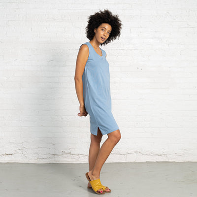 Color:Light Blue Combed Cotton New T-shirt Dress Women's T-shirts