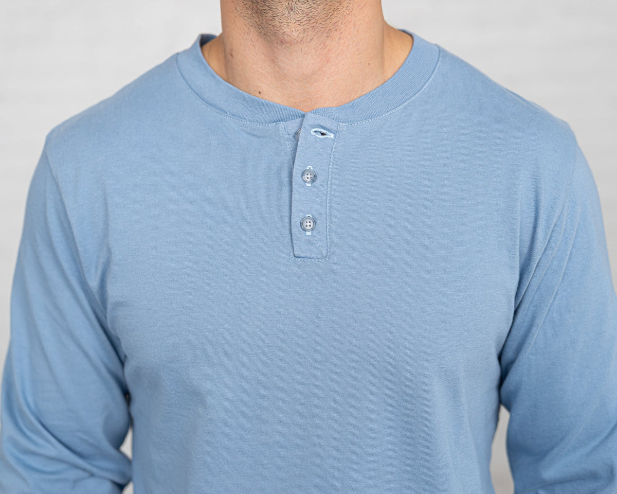 Classic Color:Light Blue Combed Cotton Henleys Mens's Henleys