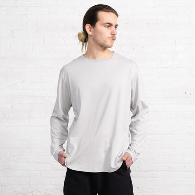 Color:Grey Supima Cotton Long Sleeve T-shirts New