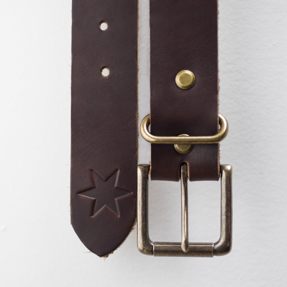 Dark Havana Brown Leather Belt
