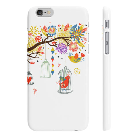Snekz White Bird Cages Slim Phone Cases