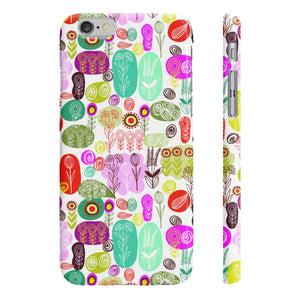 White Funky Flowers Slim Phone Cases