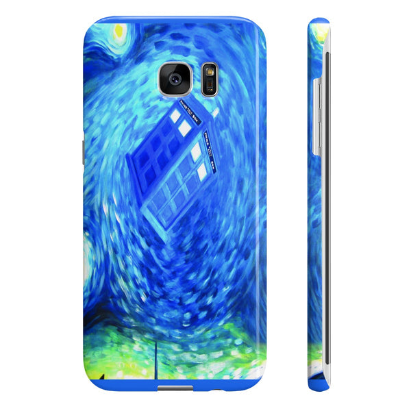 Starry Night Tardis Slim Phone Cases