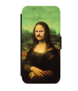 Ron Swanson as Mona Lisa Faux Leather Phone Cases Integration Option