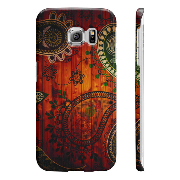 Paisley Pattern Wood Slim Phone Cases