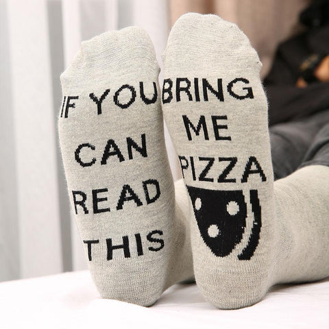 Women Socks ' If You Can Read This Bring Me Pizza ' Fun Ladies Socks