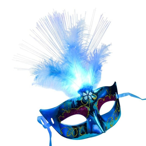 Womens Feather LED Mask Luminous Masquerade Mask