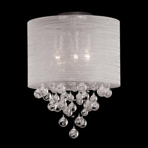 "12"" Round Drum Shade 2 Lamp Crystal Balls Ceiling Light Flush Mount"