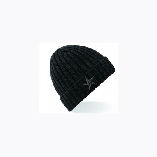 BSR STAR RIBBED BEANIE BLACK