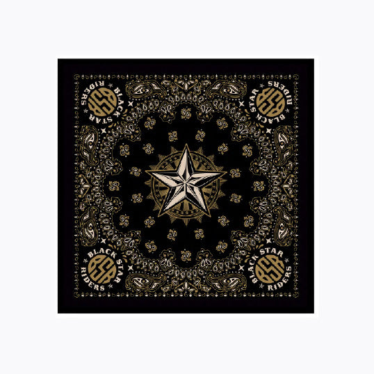 BSR GOLD STAR BANDANA BLACK