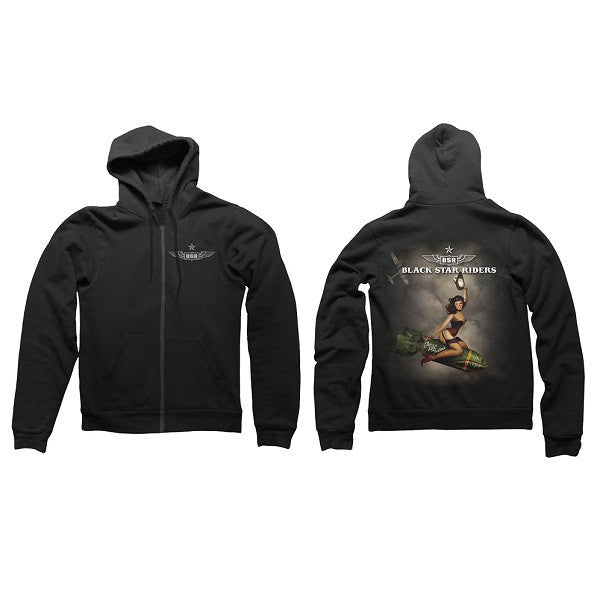Black Wing Zip Hood