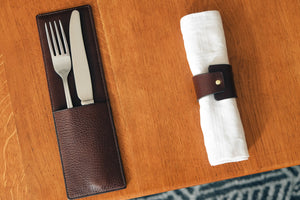 cutlery case, cutlery sleeve, fork holder, knife holder, fork case, knife case, natural leather