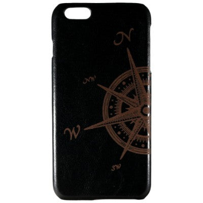 Compass Rose Genuine Leather Phone Case