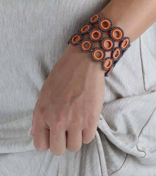 Apricot Chic Crochet Bracelet - Silk and Wool Crochet - high5humans