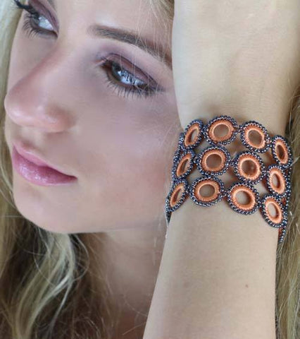 Ethical Handmade Jewelry Crochet Bracelet Cuff Apricot Loop