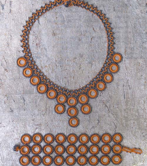 Ethical Handmade Jewelry Crochet Necklace & Bracelet Set Apricot Loop