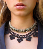 Black Diamond Chic Crochet Necklace - Silk and Wool Crochet - high5humans