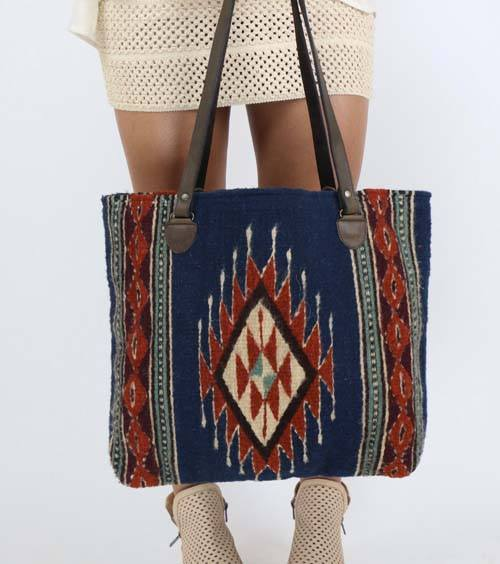 Blue Earth Diamond Tote Bag - Manos Zapotecas - high5humans