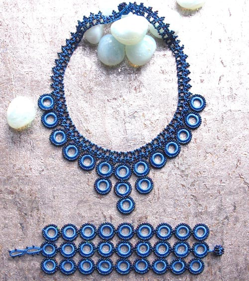 Ethical Handmade Jewelry Crochet Necklace & Bracelet Set Blue Loop