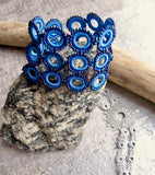 Blue Loop Crochet Bracelet Cuff Fair Trade Handmade High5Humans