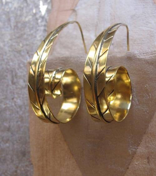 Brass Curled Leaf Earrings